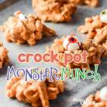 Crock Pot Monster Munch: Are you looking for a great treat to make with your kiddos for Halloween? Super easy to make and fun to put together. Best of all, you can change it up to include your favorite candy morsels!