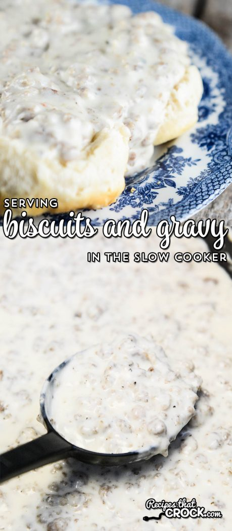 Serve up delicious biscuits and gravy from your slow cooker! If you have a browning unit you can make it in the crock, but if not, use this yummy recipe to make in a skillet and then transfer to your slow cooker. Tips for keeping your gravy nice and warm and the perfect consistency. Perfect for potlucks or work breakfast parties.