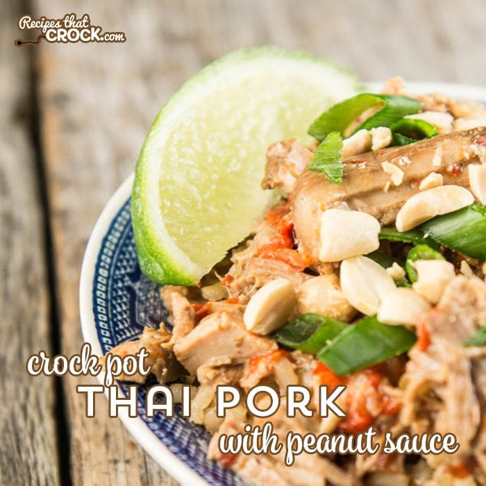 Crock Pot Thai Pork with Peanut Sauce is a tried and true Asian inspired dish submitted by one of our readers!