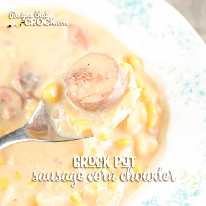 Crock Pot Sausage Corn Chowder Recipe: This slow cooker potato corn chowder recipe takes flavor to the next level with the addition of thick slices of delicious polish sausage or kielbasa.