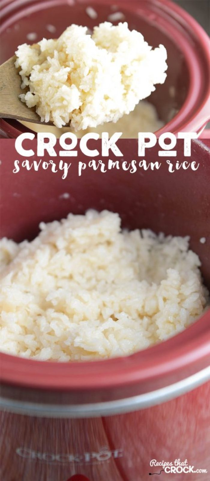 This Crock Pot Savory Parmesan Rice Recipe is a family favorite! We love this slow cooker side dish recipe.