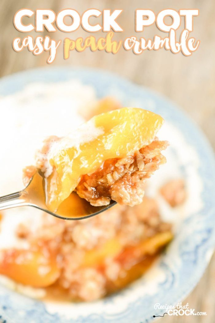 Easy Crock Pot Peach Crumble is a simple, delicious dessert recipe for your slow cooker. It is a fantastic dump and go recipe that is perfect for weeknight family dinners, potlucks or even holidays!