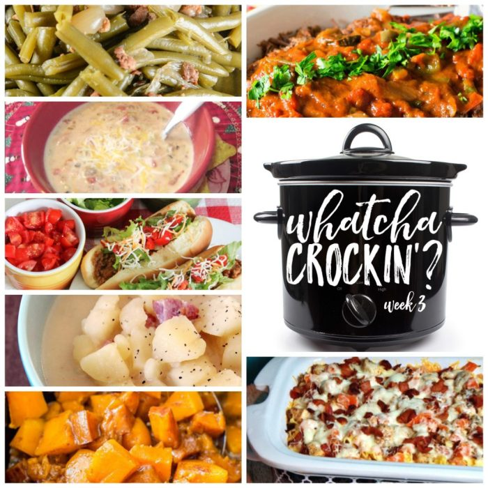 Slow Cooker Cheeseburger Soup (WW Style), Crock Pot Chicken Bacon Ranch Pizza Casserole, Crock Pot Taco Joes, Old Fashioned Slow Cooker Green Beans, Crock Pot Potato Soup, Slow Cooker Cinnamon Sugar Butternut Squash AND Braised Italian Pot Roast are featured in this week's Whatcha Crockin' Crock Pot Recipe Party!