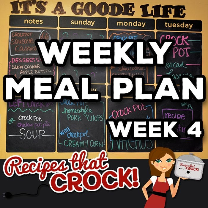This week's Weekly Meal Plan includes Chicken Drumsticks, Slow Cooker Sweet and Tangy Baked Beans, Mexican Lasagna, Crock Pot Chicken Pot Pie Soup, Homestyle Crock Pot Pork Chops, Creamy Crock Pot Corn, Crock Pot Chicken Ranch Nachos, Slow Cooker Apple Butter, Slow Cooker Pumpkin Butter and Crock Pot Sausage Egg Casserole!