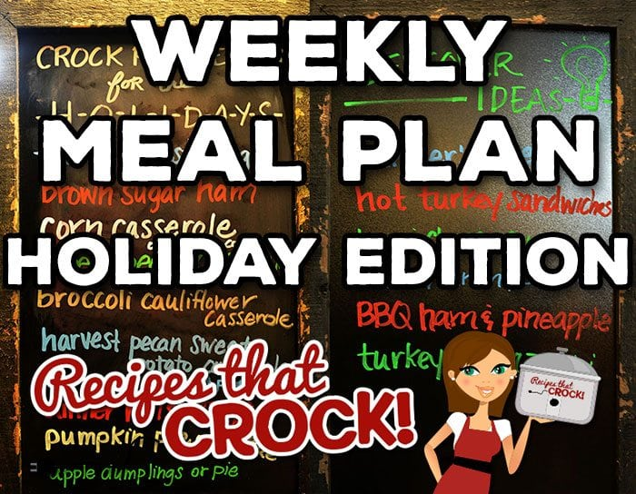 We are switching things up with week with a Weekly Meal Plan - Holiday Edition! This week is all about how to use your slow cooker to free up your oven for the holidays. Crock pot turkey breast, Crock pot turkey legs, crock pot brown sugar ham, slow cooker corn casserole, crock pot creamy corn, crock pot green bean casserole and MUCH more including homemade yeast rolls you make in your slow cooker! We also give you some ideas for what you can make with all those leftovers!