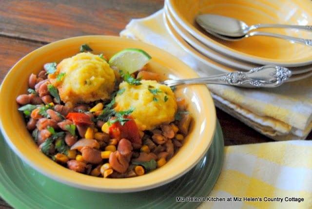 Slow Cooker Pinto Bean Stew with Corn Bread Dumplings