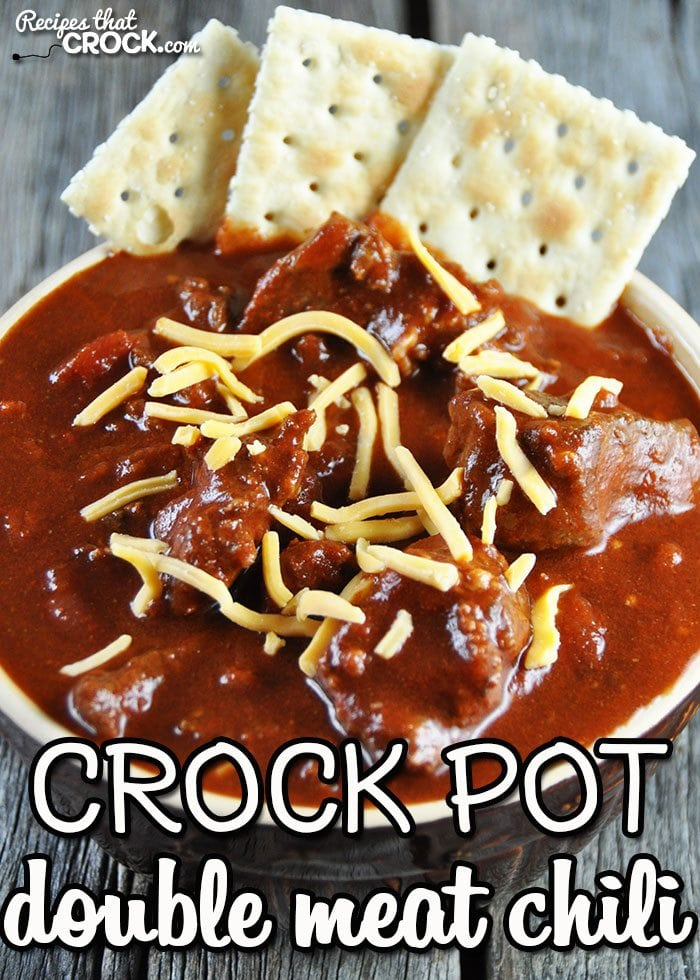 This Crock Pot Double Meat Chili is a must-have recipe! The first time I had it, I knew I wanted to have it again! And now you can have it too!