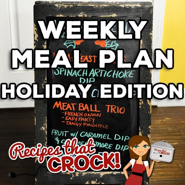 This week's Weekly Meal Plan is a little different. Christmas week is upon us, so we thought we would share with you our holiday finger foods menu! It includes Brown Sugar Holiday Ham with Crock Pot Homemade Yeast Rolls (for small sandwiches), Spinach Artichoke Dip, Crock Pot Sausage Cheese Dip, French Onion Meatballs, Easy Party Meatballs, Tangy Pineapple Meatballs, Crock Pot Cream Cheese Caramel Dip, Crock Pot Caramel S'More Fondue and Crock Pot Magic Bars!