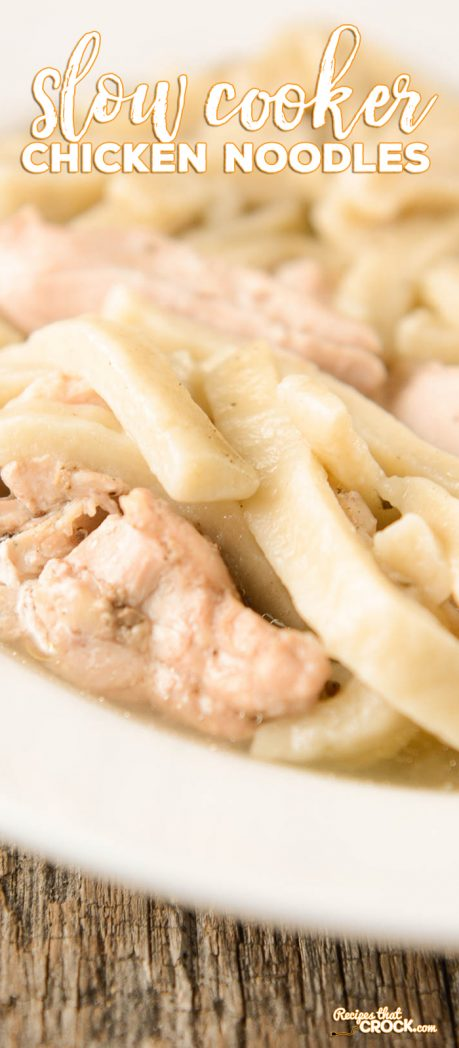 Are you looking for an easy Slow Cooker Chicken Noodles recipe? Our recipe has that old fashioned flavor you love but can be thrown in your crock pot in minutes!