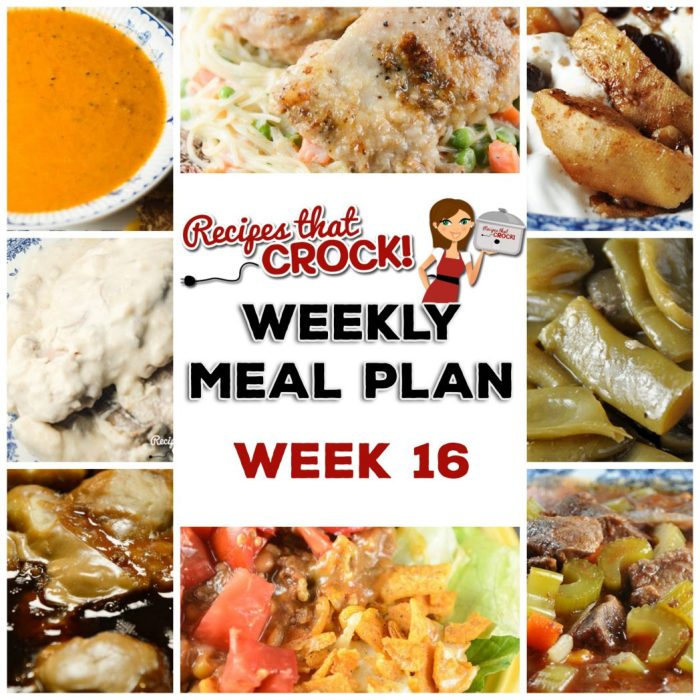 This week's weekly menu features comforting Homemade Crock Pot Tomato Soup with Grilled Cheese, Easy Crock Pot Chicken Dinner for Two, Easy Crock Pot Beef Stew, Crock Pot Angel Pork Chops with Crock Pot Green Beans, Crock Pot Taco Casserole, Peanut Butter Jelly Casserole and Slow Cooker Baked Apples.