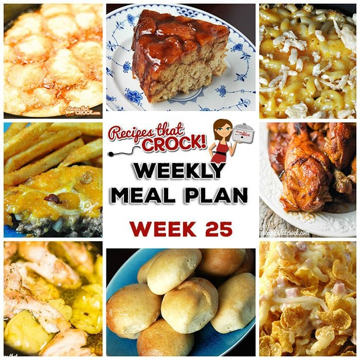 This week's weekly menu features Easy Crock Pot Pork Chops, Crock Pot Pierogi Casserole, Crock Pot Chicken Drumsticks, Crock Pot Dinner Rolls, Crock Pot Golden Mac 'n Cheese, Crock Pot Tex Mex Dumpling Soup, Crock Pot Mississippi Chicken Thighs, Crock Pot Bacon Cheeseburger Casserole, Crock Pot Cheesy Ham Hashbrown Casserole, Crock Pot Monkey Bread and Crock Pot Sausage Cheese Dip.