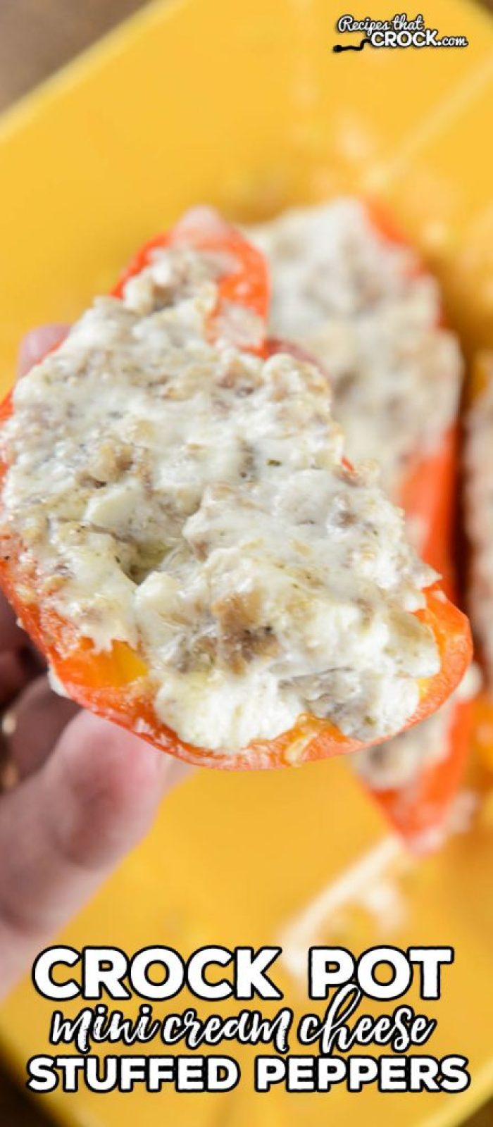 These Crock Pot Mini Cream Cheese Stuffed Peppers are great as an appetizer or side dish.