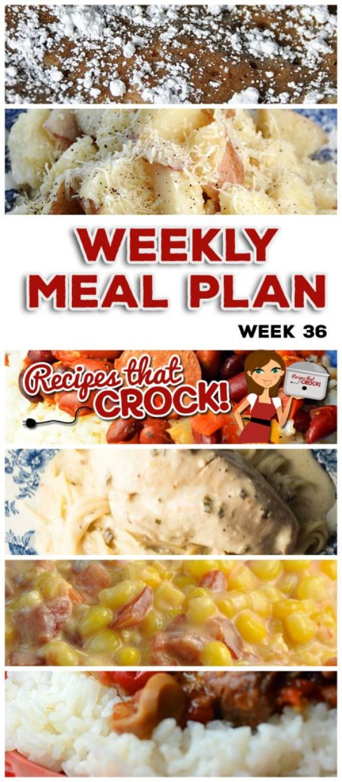 This week's weekly menu features Crock Pot Angel Chicken, Crock Pot Garlic Parmesan Potatoes, Crock Pot Bacon Bubble Up Bread, Slow Cooker Ranch Pork Chops, Extra Cheesy Crock Pot Mac n' Cheese, Crock Pot White Chicken Chili, Slow Cooker Red Beans and Sausage, Crock Pot Pepper Steak, Crock Pot Cheesy Fiesta Corn, Crock Pot Cherry Delight, Sweet and Salty Crock Pot Party Mix and Crock Pot Apple Cinnamon Cream Cheese Squares.