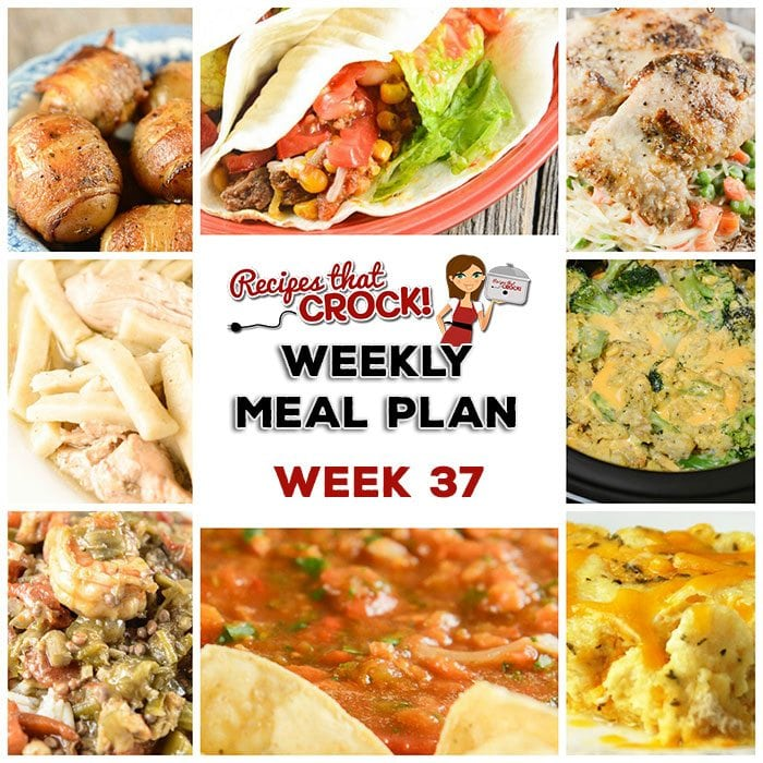This week's weekly menu features Crock Pot Brown Sugar Pineapple Pork Roast, Crock Pot Broccoli Cheese Casserole, Crock Pot Beefy Tex Mex Tacos, Crock Pot Homemade Salsa, Slow Cooker Chicken Noodles, Crock Pot Seafood Gumbo, Easy Crock Pot Chicken Dinner for Two, Crock Pot Cheese Souffle, Crock Pot Bacon Taters, Crock Pot Cheesecake.