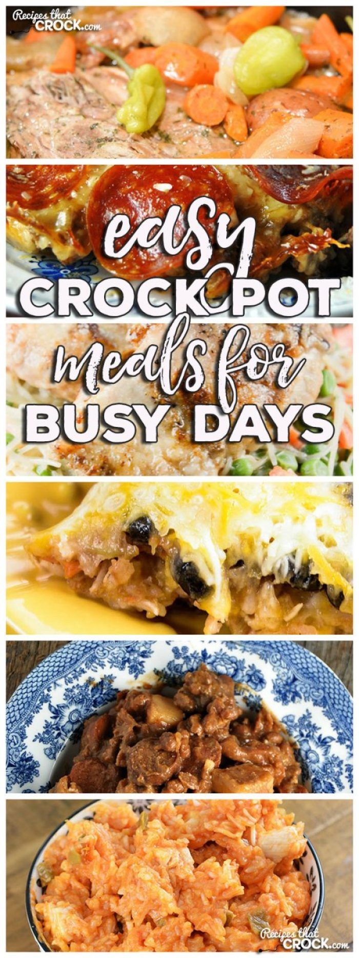 This week for our Friday Favoriteswe have some yummy Easy Crock Pot Meals for Busy Days like Crock Pot Crustless Pizza,Slow Cooker Mississippi Pork Roast with Vegetables,Crock Pot Nacho Chicken and Rice,Crock Pot Mexican Rice Veggie Bake,Easy Chicken Crock Pot Dinner for Two andCrock Pot Chuck Wagon Stew.