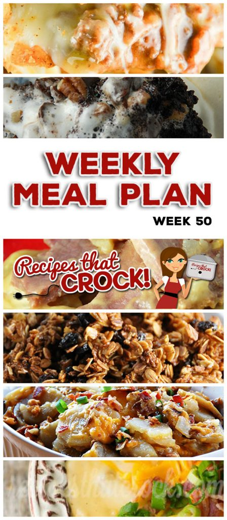 This week's weekly menu features Slow Cooker Ranch Pork Chops, Bacon Cheddar Crock Pot Potatoes, Crock Pot Taco Bake, Crock Pot Potato Soup, Crock Pot Scalloped Potatoes and Ham, Crock Pot Bacon Cheeseburger Casserole, Crock Pot Cheese Souffle, Crock Pot Rocky Road Chocolate Cake and Easy Crock Pot Honey Granola.