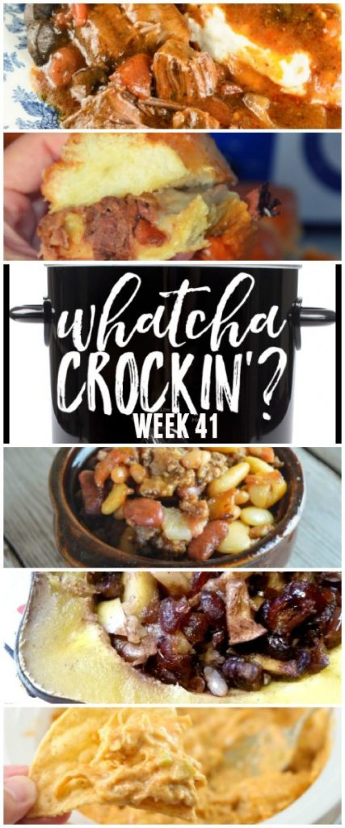This week's Whatcha Crockin' crock pot recipes include Crock Pot Chicken and Noodles, Crock Pot Chicken Enchilada Dip, Crock Pot Calico Beans with Bacon and Ground Beef, Crock Pot French Onion Beef Sliders, Crock Pot Italian Pot Roast, Crock Pot Hamburger Soup, Slow Cooker Chocolate Football Rice Krispies, Crock Pot Apple Stuffed Acorn Squash and much more!