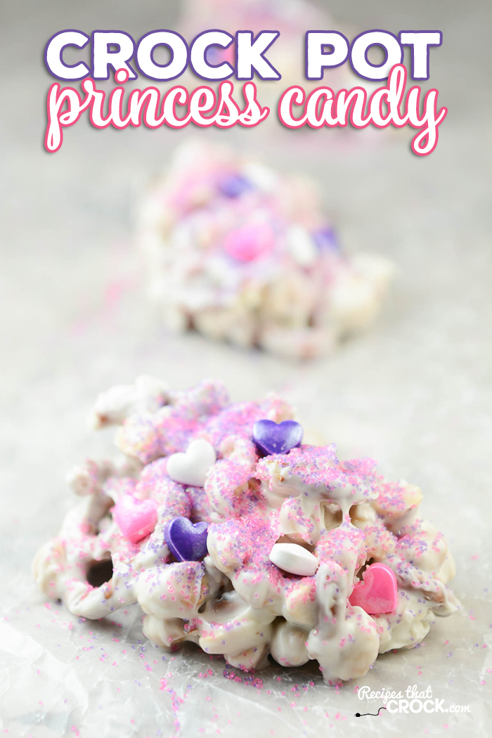 Our Princess Crock Pot Candy is a fun treat to make with the kids in the kitchen. It is super simple to throw together and the kiddos love decorating their own candy creations. It is a perfect treat and activity for birthdays or holidays!