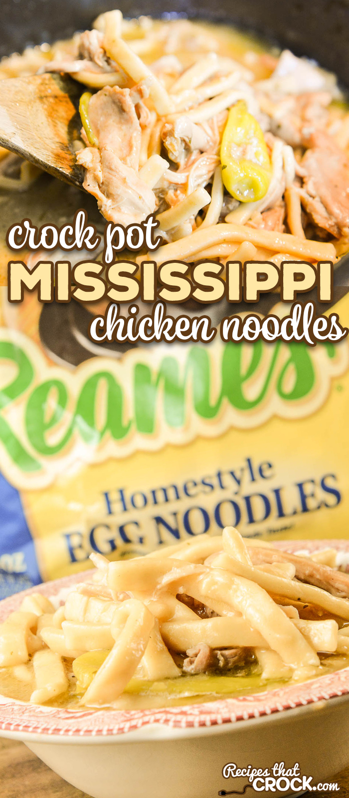 Our Crock Pot Mississippi Chicken Noodles combines two of our favorite recipes to serve up the ultimate comfort food for your family dinner or holiday table. #Ad #Reames #HomemadeGoodness #ComfortFood #CrockPot