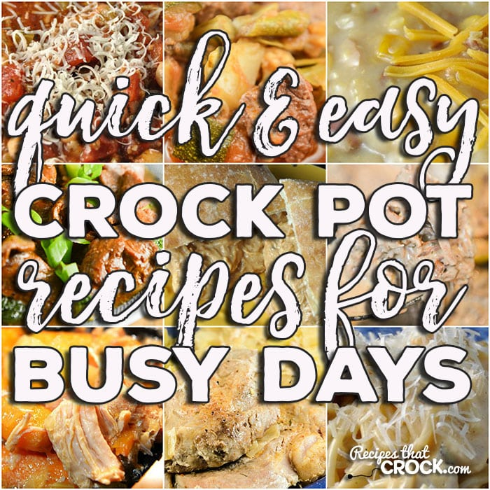 This list of delicious Quick and Easy Crock Pot Recipes for Busy Days has a little bit of everything, so you should be able to find something to suit your fancy!