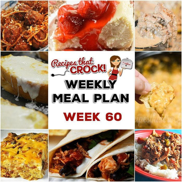 This week's weekly menu features Crock Pot Mississippi Beef, Easy Crock Pot Chicken Tacos,Crock Pot Steak Mushroom Soup,Zesty Shredded Crock Pot Pork,Crock Pot Spaghetti and Meatballs, Mom's Cheesy Garlic Bread,Crock Pot Sausage Cheese Dip,Homemade Crock Pot Cheesecake andCrock Pot Cheesy Bacon Casserole.