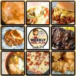 This week's weekly menu features Crock Pot Fire Bird, Crock Pot Mexican Hamburgers, Crock Pot Fiesta Chicken and Beans, Crock Pot Italian Pot Roast, Crock Pot Mozzarella Steak, Crock Pot Pizza with Mac and Cheese Crust, Easy Crock Pot Roast, Creamy Crock Pot Chicken Salsa Dip, Crock Pot Triple White Chocolate Fantasy and Crock Pot Strawberry Breakfast Cake.