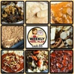 This week's weekly menu features Homestyle Crock Pot Chicken, Crock Pot Salisbury Steak, Crock Pot Double Meat Chili, Crock Pot Catalina Pineapple Chicken, Crock Pot French Onion Beef Casserole, Slow Cooker Rotisserie Chicken, Crock Pot Shepherd's Pie, Crock Pot Graham Streusel Spoon Cake, Crock Pot Cracker Crunch Snack Mix and Crock Pot Pecan Rolls.