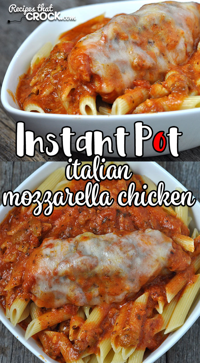 Looking for a great recipe for a weeknight dinner or any time you need dinner in a hurry? Check out this Instant Pot Italian Mozzarella Chicken! Yum!