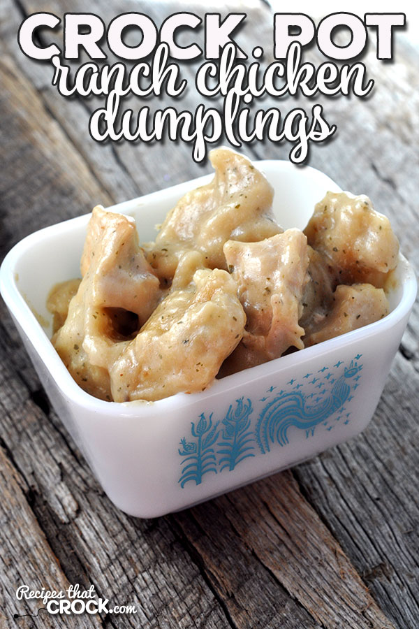 If you love a wonderfully easy meal that is not only super yummy, but the perfect comfort food, then you don't want to miss this Crock Pot Ranch Chicken Dumplings. Oh. My. Yum.