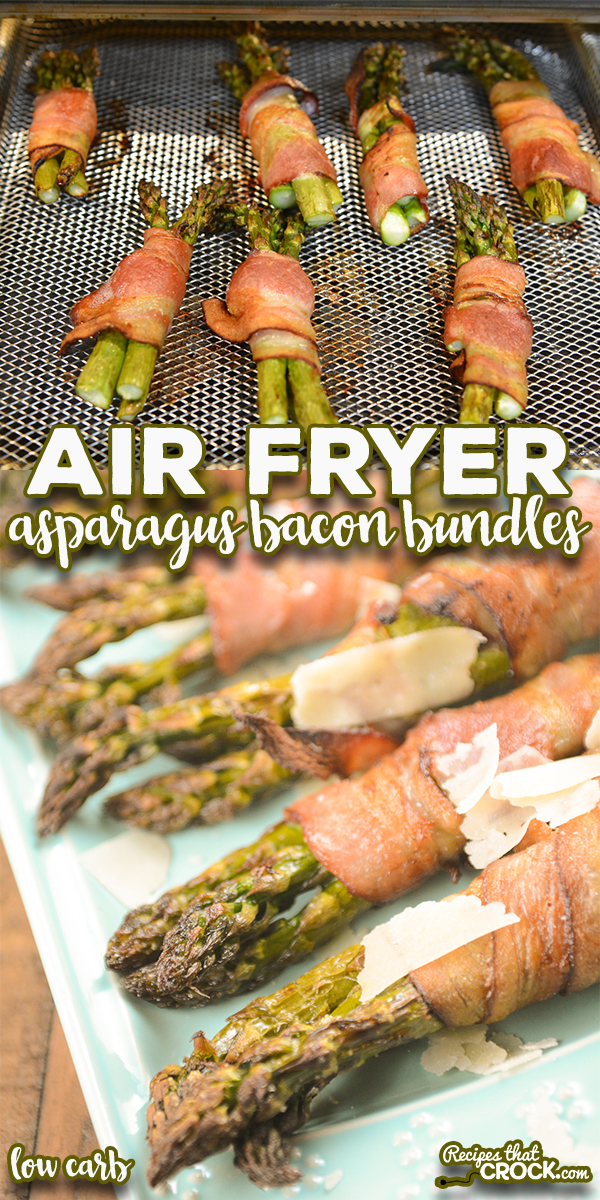 Our Air Fryer Asparagus Bacon Bundles are an easy low carb side dish or appetizer you can make in a traditional air fryer, Ninja Foodi or air fry oven. You'll love these bundles of fresh asparagus wrapped in crispy salty bacon topped with shaved Parmesan cheese. via @recipescrock