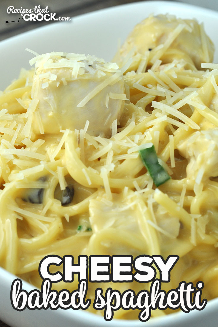This Cheesy Baked Spaghetti recipe takes our reader favorite Crock Pot Cheesy Chicken Spaghetti and shows you how to make it in your oven! via @recipescrock
