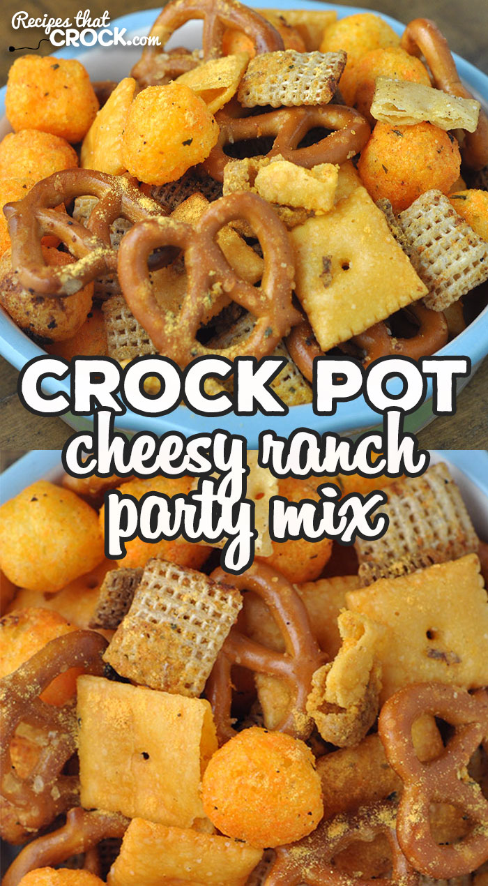 This Cheesy Ranch Crock Pot Party Mix is fun to make and delicious to boot! You and your loved ones will love this recipe! via @recipescrock