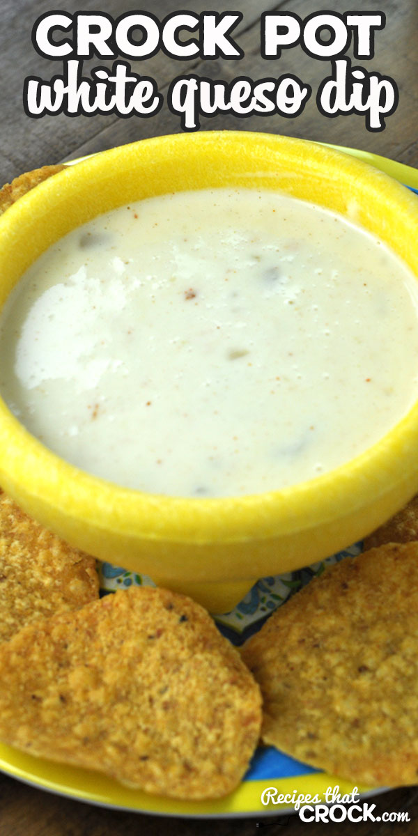 This Crock Pot White Queso Dip recipe is done in an hour and gives you a delicious dip as a treat for yourself or to share with friends! Yum! via @recipescrock