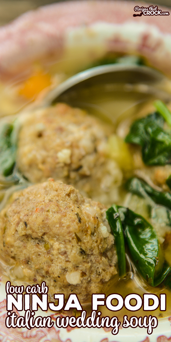 Our Low Carb Ninja Foodi Italian Wedding Soup is a quick an easy recipe you can make in one pot! We love these tender air crisp low carb meatballs in a savory soup with vegetables. No Foodi? Make with Oven/Air Fryer and your Instant Pot. via @recipescrock