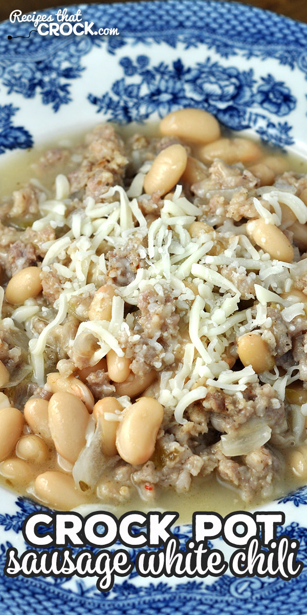 We absolutely love the flavor of this delicious Sausage Crock Pot White Chili recipe! I bet you will love it too and how easy it is to make! via @recipescrock