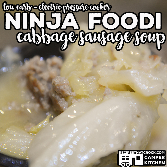 Ninja Foodi Cabbage Sausage Soup is a simple 4 ingredient low carb soup that is a snap to throw together in your electric pressure cooker or instant pot.