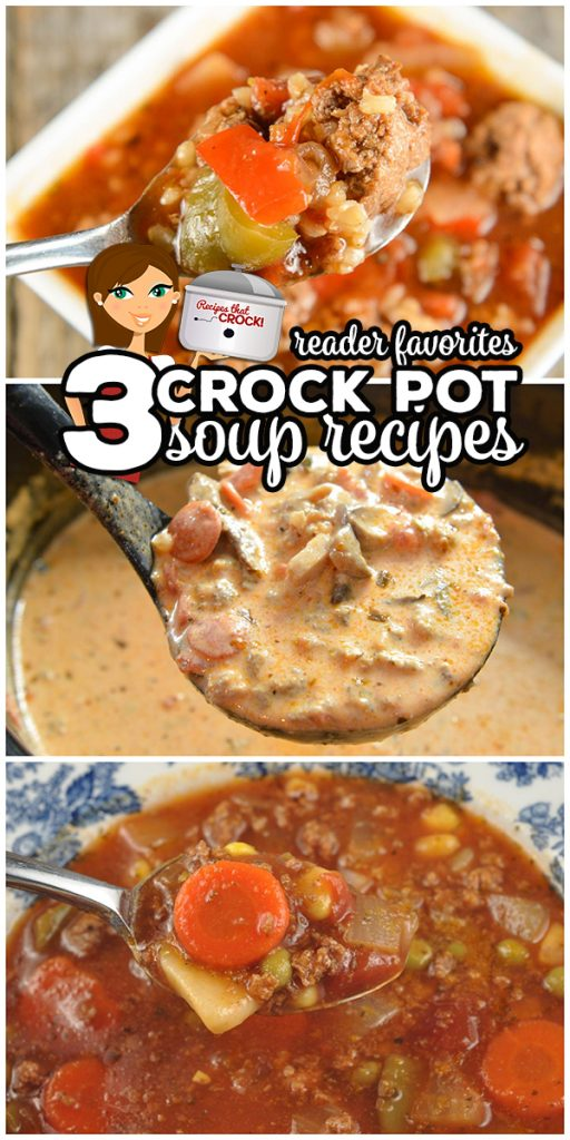 These 3 popular Crock Pot Soup Recipes are the soups our readers tell us are their favorite: Stuffed Pepper Soup, Low Carb Pizza Soup and 7 Can Vegetable Soup