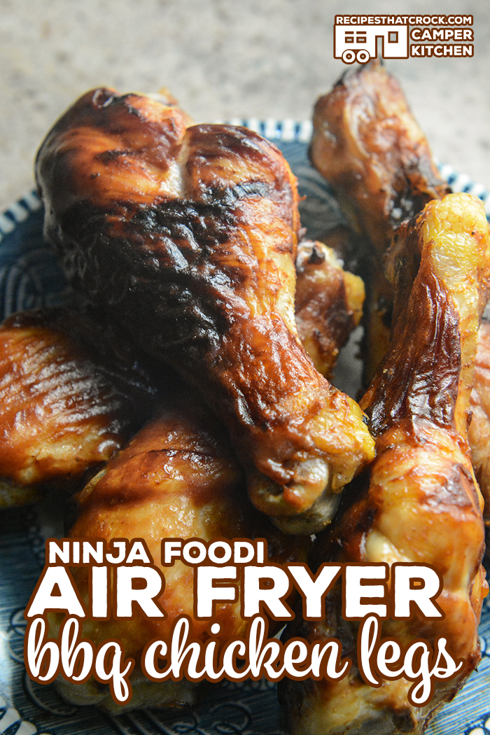 Air Fryer BBQ Chicken Legs are so easy to cook up in your Ninja Foodi or traditional air fryer. Use your favorite barbecue sauce. Low carb options. via @recipescrock
