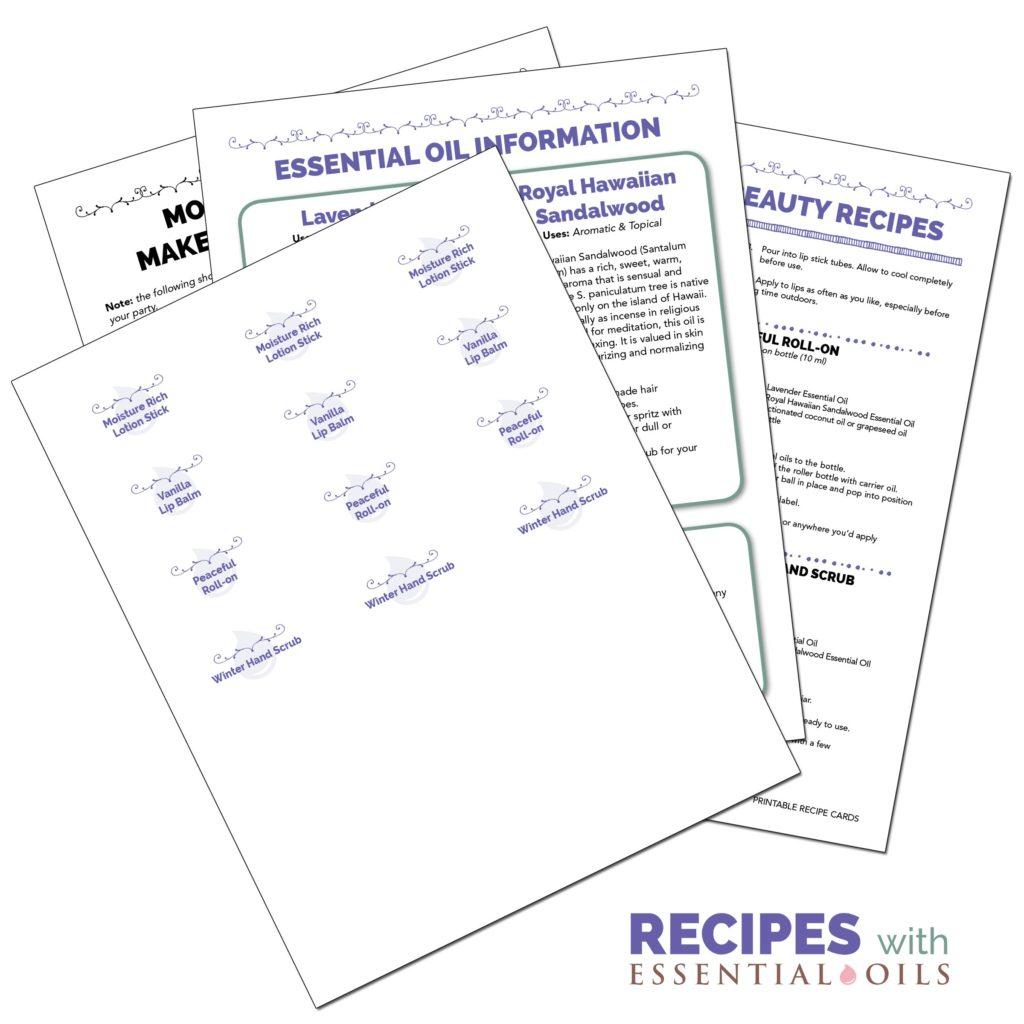 Essential Oil Make & Take Party Printable Packs: Easy as 1