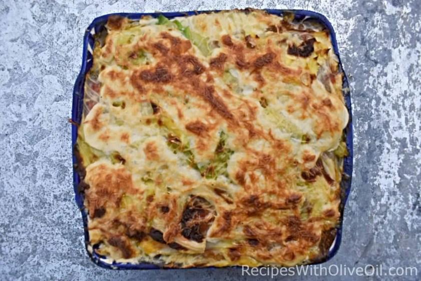 cabbage lasagna white bechamel sauce low carb