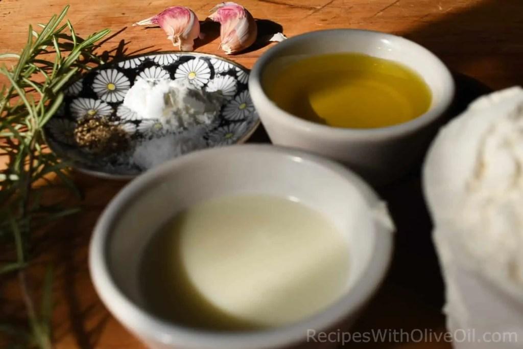 ingredients for olive oil cracker dough