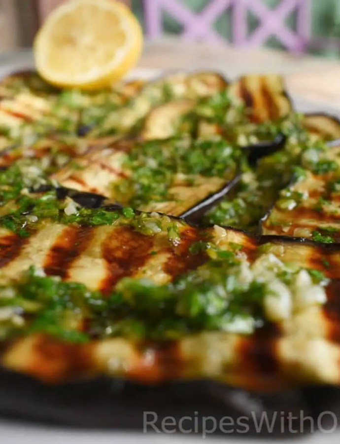 Grilled Eggplant with Garlic Infused Olive Oil