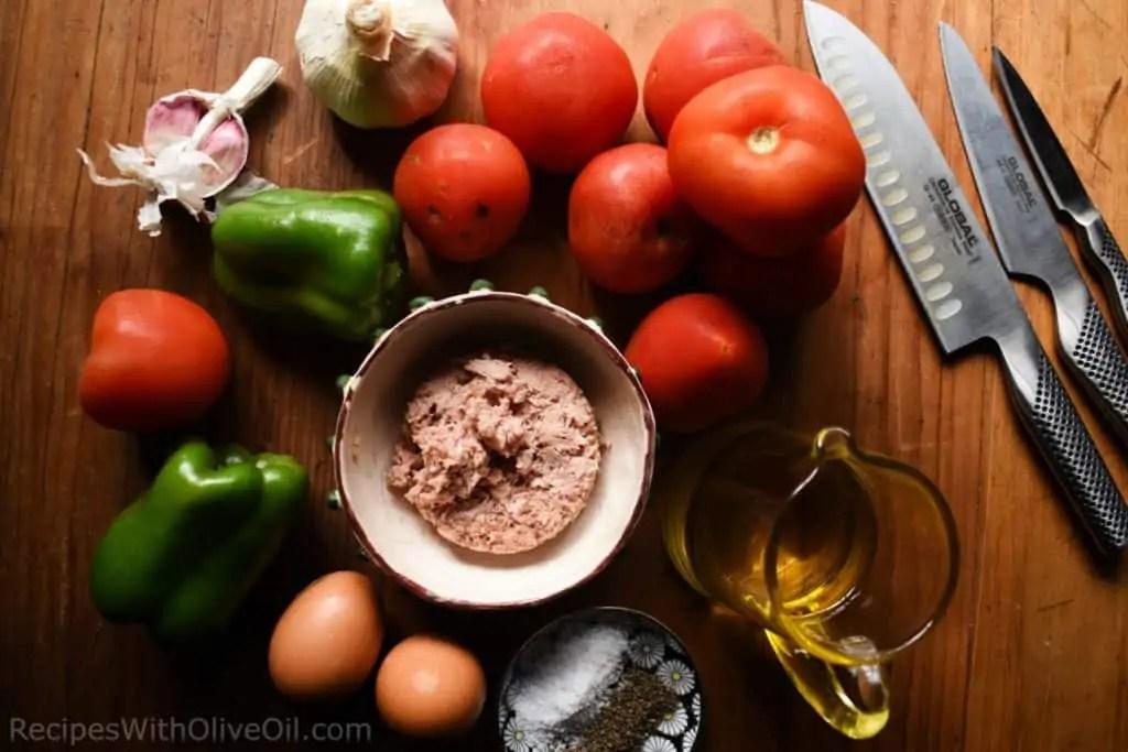 ingredients to make pipirrana summer salad