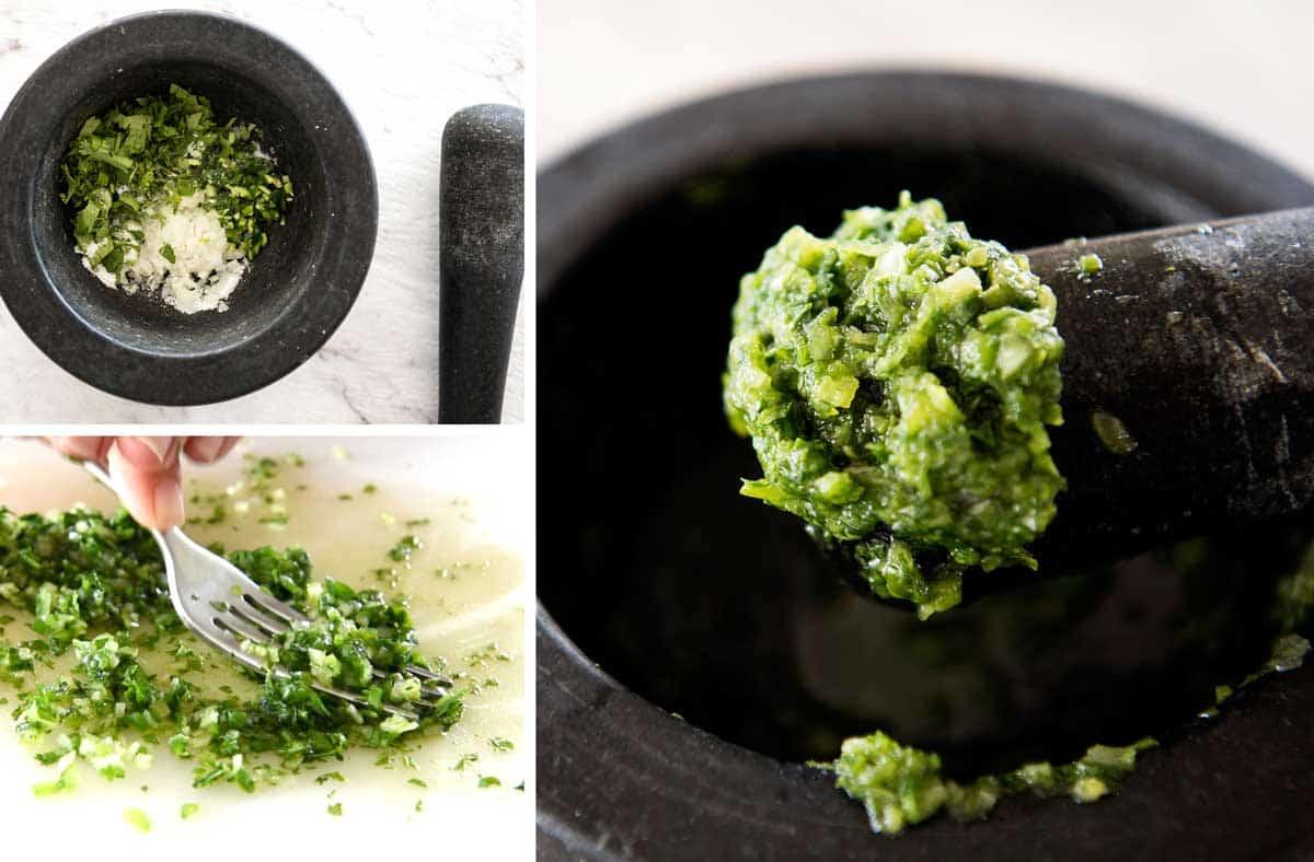Mashing coriander, jalapeno and onion for a guacamole recipe.