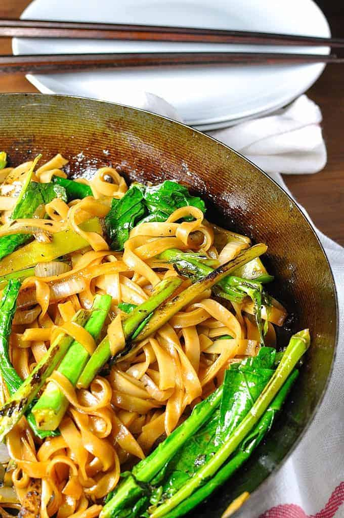 Vegetarian Thai Noodles, also known as Pad See Ew, in a wok ready to be served.
