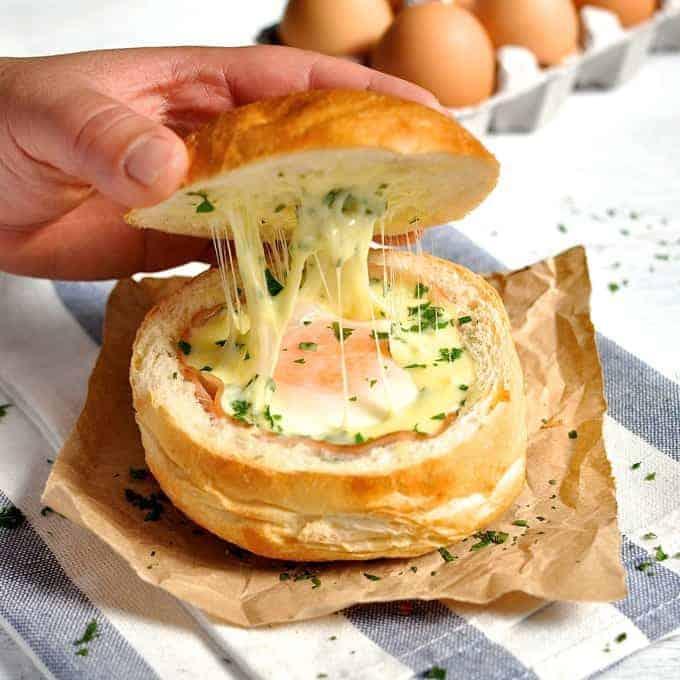 No Washing Up Ham Egg Cheese Bread Bowls 1