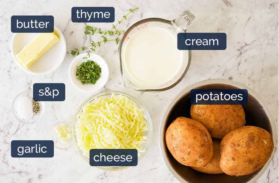 Ingredients in Potatoes au gratin (Dauphinoise Potatoes)