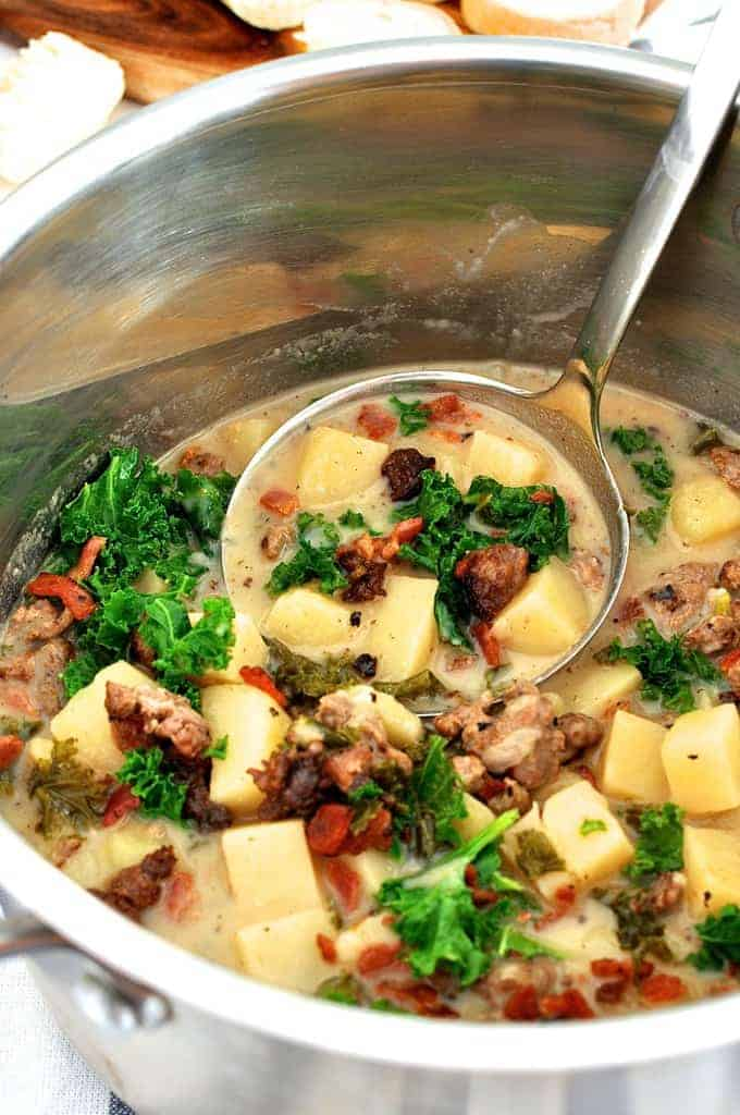 A pot of Lisa's Zuppa Toscana