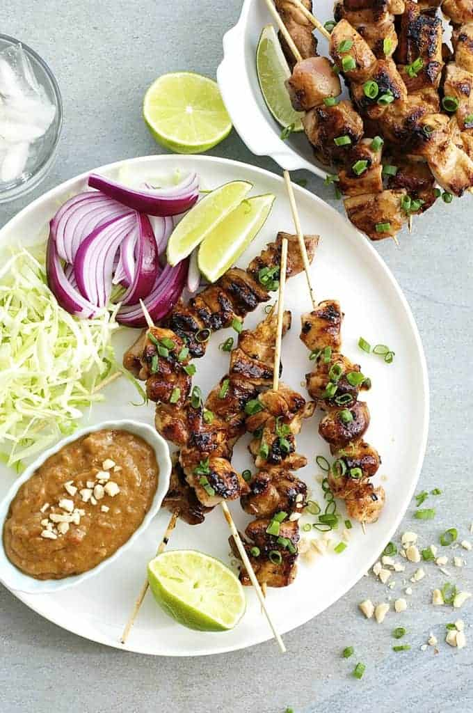 Satay Chicken with Peanut Sauce - this Bali/indonesian version is the easiest of all South East Asian satays, a handful of ingredients you can get from the supermarket. Thick, chunky peanut sauce!