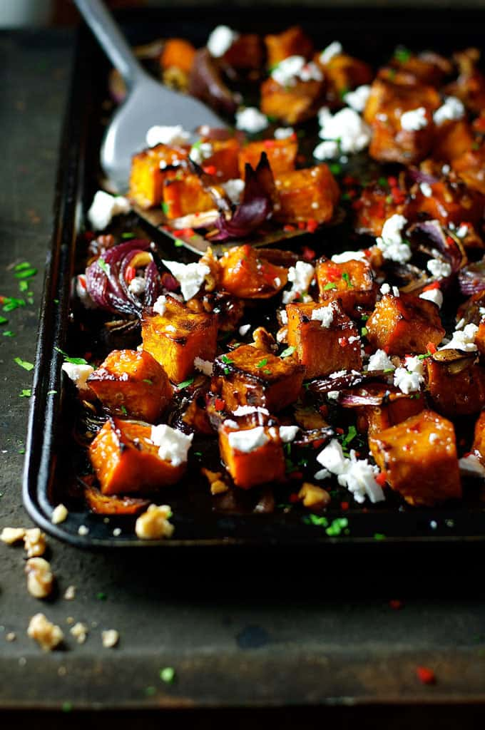 Roasted Pumpkin with Maple Syrup, Chili and Feta - a dash of maple syrup creates extra caramelisation and the chili adds a great kick!